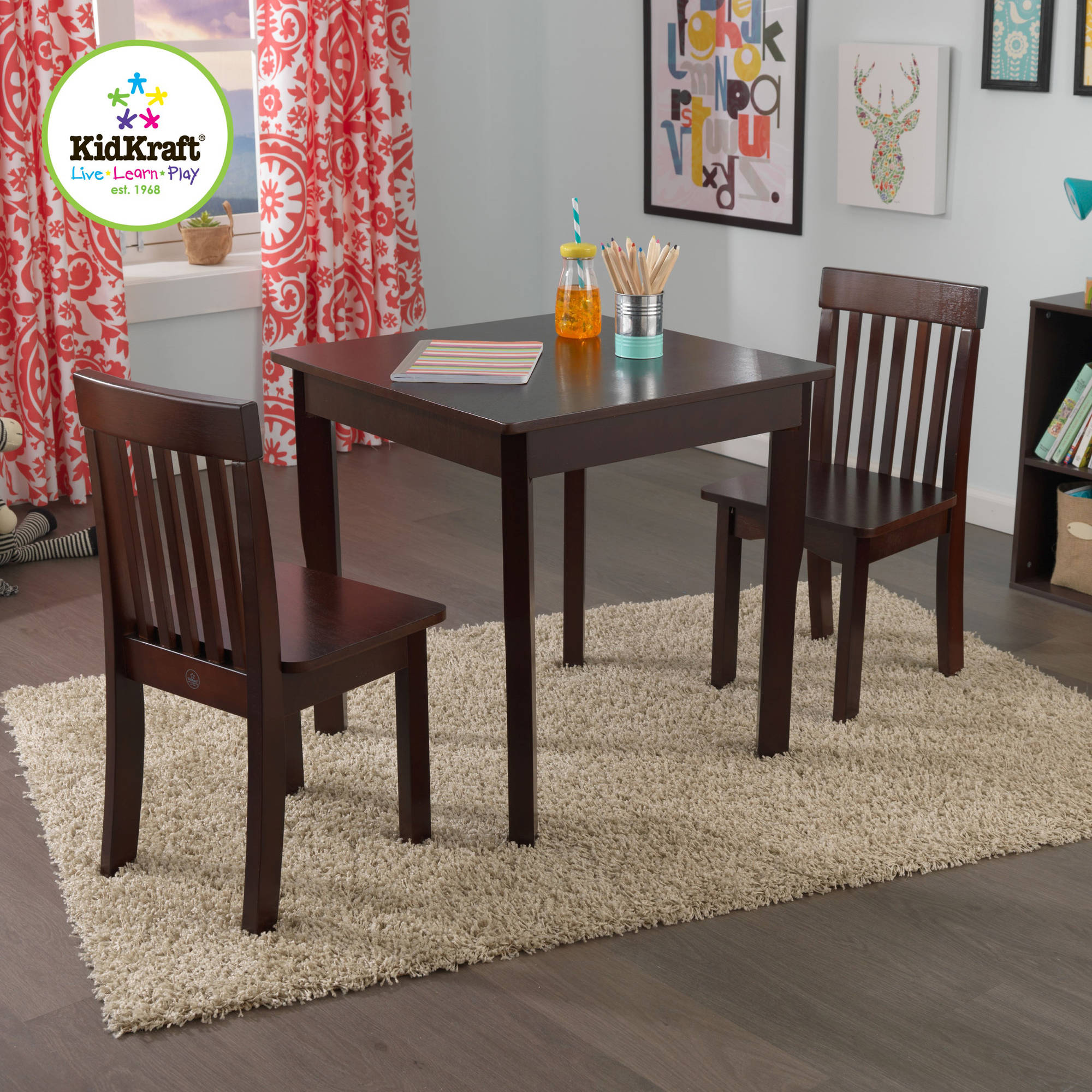 American Kids 5 Piece Wood Table and Chair Set Multiple Colors