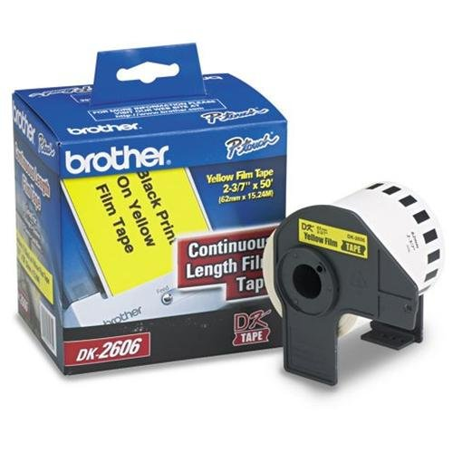 Brother International Corporat Dk2606 Dk-2606: Continuous Length Film Label Black On Yellow 2-3/7 For Use With Ql500