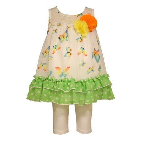 Bonnie Jean Baby Green Butterfly Capri Set 12 months