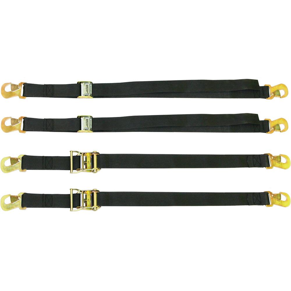 """4-Piece Snap Ratchet & Cam Buckle Cargo Tie-Down Kit (72""""L x 2""""W)"""