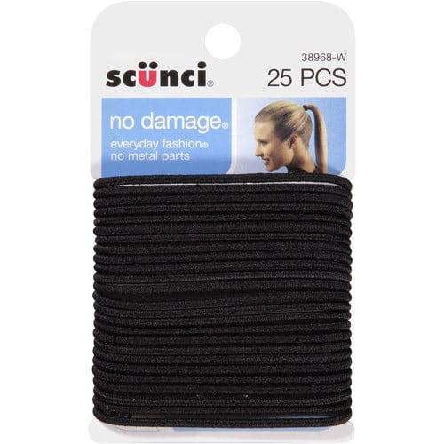 (2 Pack) Scunci No Damage Hair Ties, Black, 25 Ct