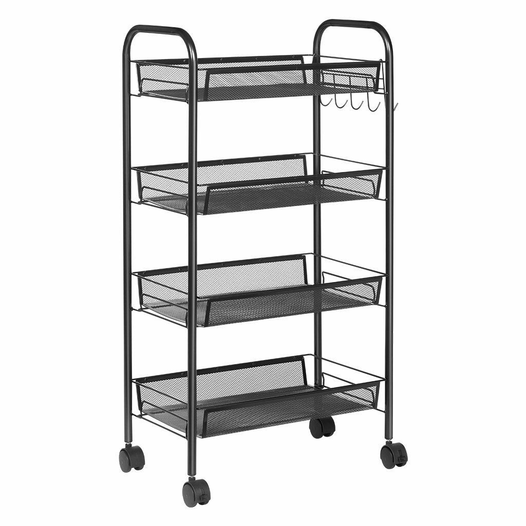 Zimtown Metal Mesh 4 Tier Mobile Storage Utility Cart Organizer Kitchen Island, Black