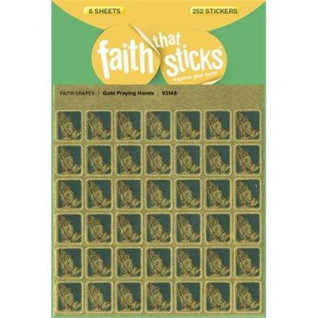 Sticker-Gold Praying Hands (6 Sheets) (Faith That Sticks)