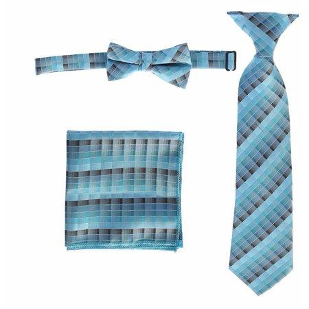 Boys Teal Plaid Striped Tie Bow Tie Pocket Square 3 Pc Accessory