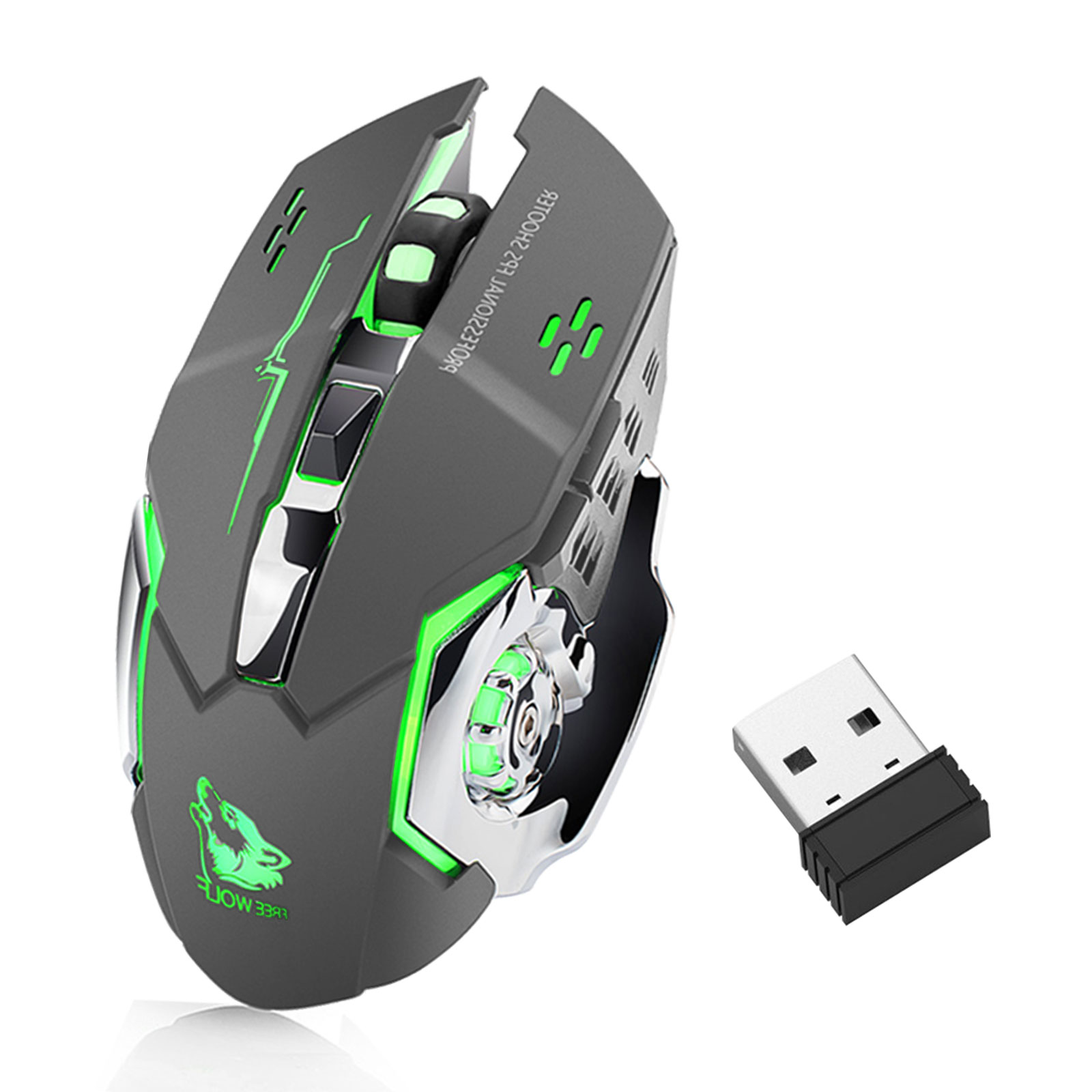 Wireless Gaming Mouse, X8 Rechargeable Silent LED Backlit USB Optical Ergonomic Gaming Mouse (Black/Gray)