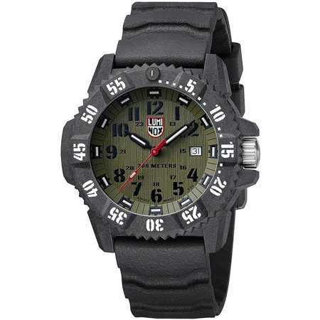 Luminox Men's 46mm Black Silicone Band Carbon Fiber Case Quartz Green Dial Analog Watch 3813