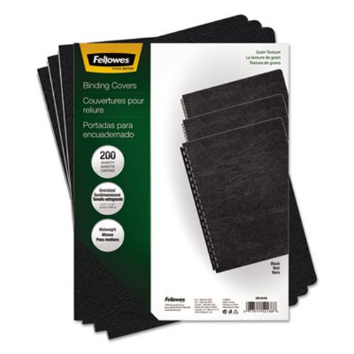 Fellowes Grain Texture Binding System Covers, Black, 200 per Pack (FEL52138) by