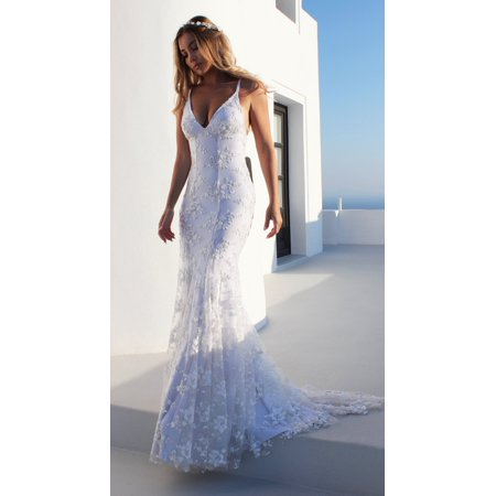 Wedding Dresses For Women Sexy V-neck White Lace Dress Spaghetti Strap Sleeveless Evening Party Dress Long Formal (Hawaiian Bridal Dresses)