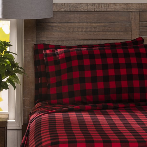 Mainstays Flannel Sheet Set Buffalo Check Full Walmart Com Walmart Com