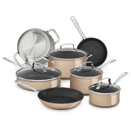 Kitchenaid Hard Anodized Non-Stick 11-Piece Cookware Set, Toffee Delight (Kc3H1S11Tz)