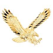Wellingsale 14K Yellow Gold Polished Diamond Cut Ornate Eagle Wildlife Pendant
