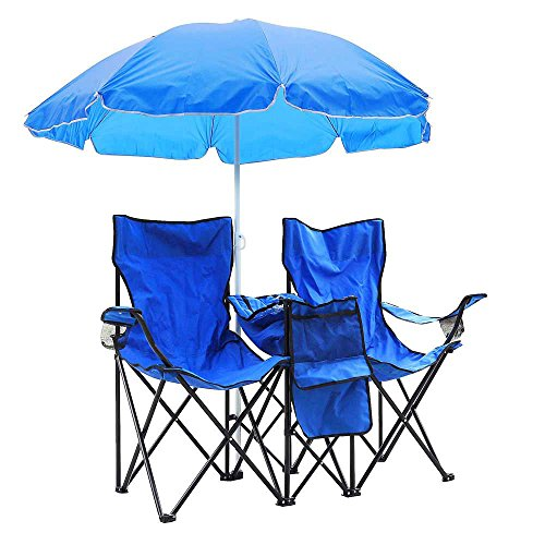 MegaBrand Double Camping Folding Chair and Umbrella