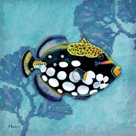 Azure Tropical Fish III Stretched Canvas - Paul Brent (12 x 12)