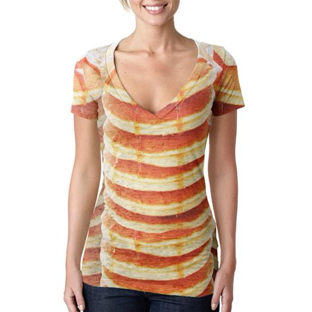 Halloween Pancakes and Syrup Breakfast Costume Juniors Burnout V-Neck T-Shirt (Easy Halloween Breakfast Ideas)