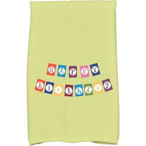"Simply Daisy 16"" x 25"" Happy Birthday Holiday Word Print Kitchen Towel by E By Design"