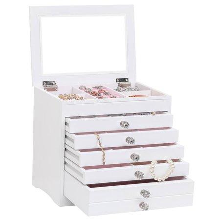OTVIAP High Large Gloss Wooden Jewellery Box Armoire Bracelet Organizer Storage 5 Layers Glass White