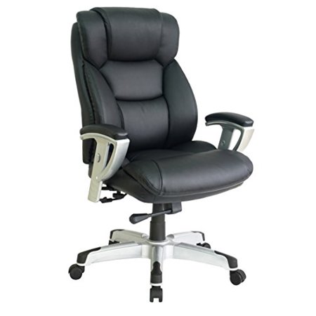 Office Factor New Big and Tall Black Executive Office Chair Bonded Leather ()