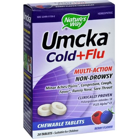 Nature's Way Umcka Cold+Flu Multi-Action Chewable Tablets, Berry 20 ea (Pack of