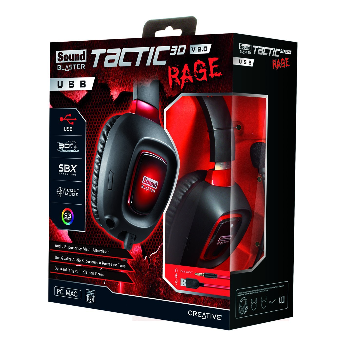 """Sound Blaster 70GH023000004 Sound Blaster Tactic3D Rage Headset - Stereo - USB - Wired - 32 Ohm - 20 Hz - 20 kHz - Over-the-head - Binaural - Circumaural - Noise Cancelling, Condenser Microphone"""