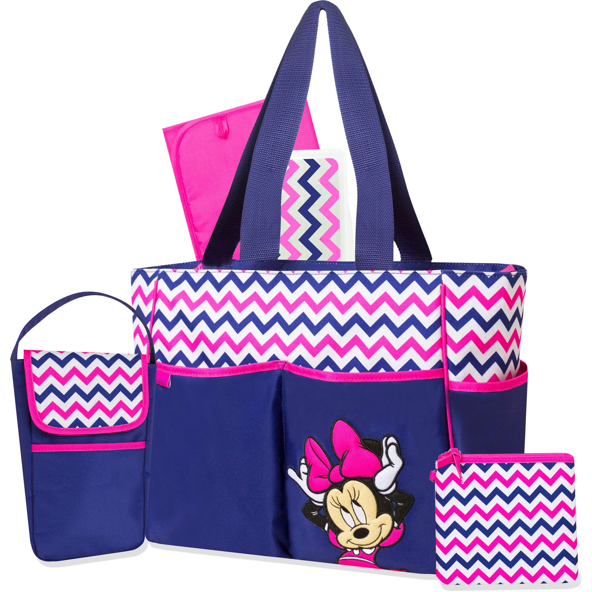 Disney Minnie Mouse Navy Chevron 5-in-1 Diaper Bag