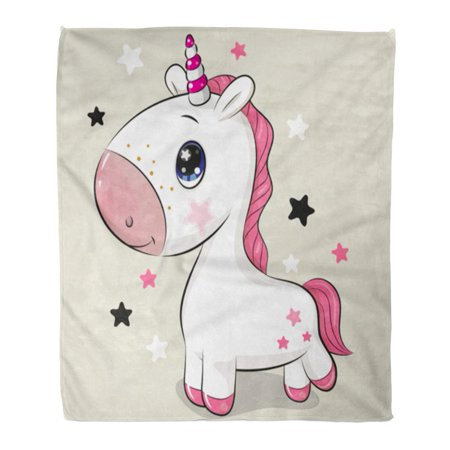 HATIART Flannel Throw Blanket Adorable Cute Cartoon Unicorn Beige Baby Beautiful 50x60 Inch Lightweight Cozy Plush Fluffy Warm Fuzzy Soft - image 4 of 4