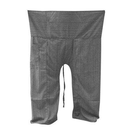 2f2ebe9e3d Thai Fisherman Pants Yoga Trousers Free Size Cotton Drill Stripes Charcoal  - Walmart.com