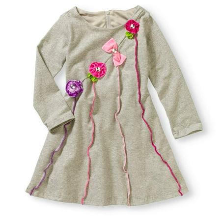 Long Sleeve Fit & Flare Dress (Toddler Girls)
