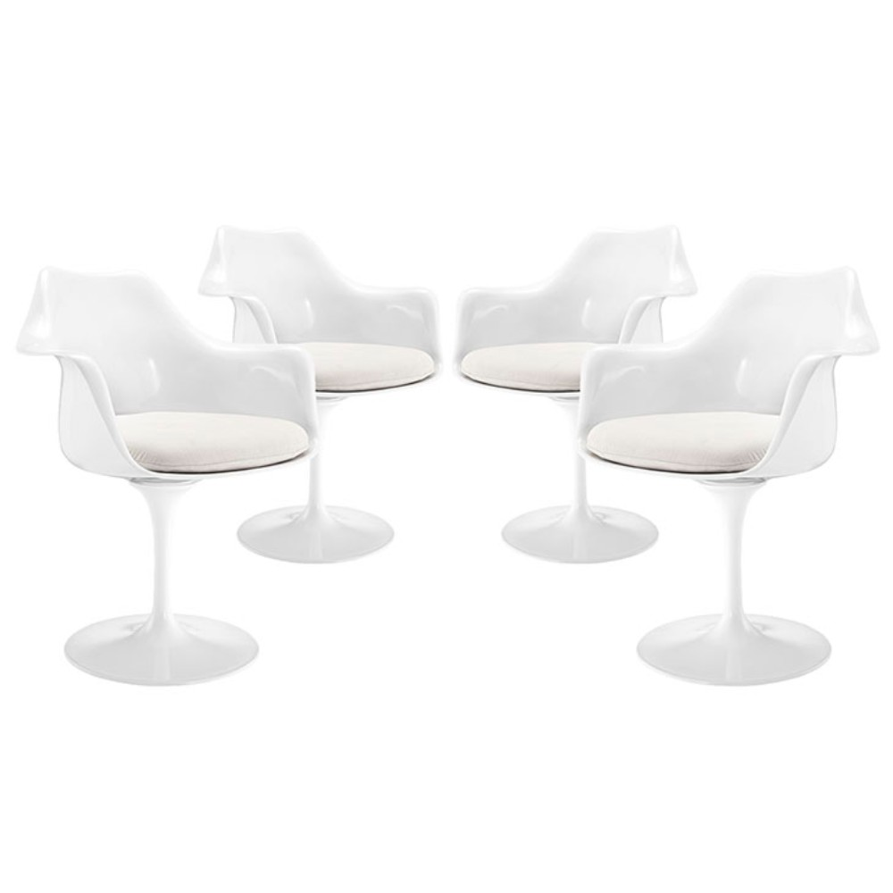 Lippa Dining Armchair Set of 4, White by Lexmod