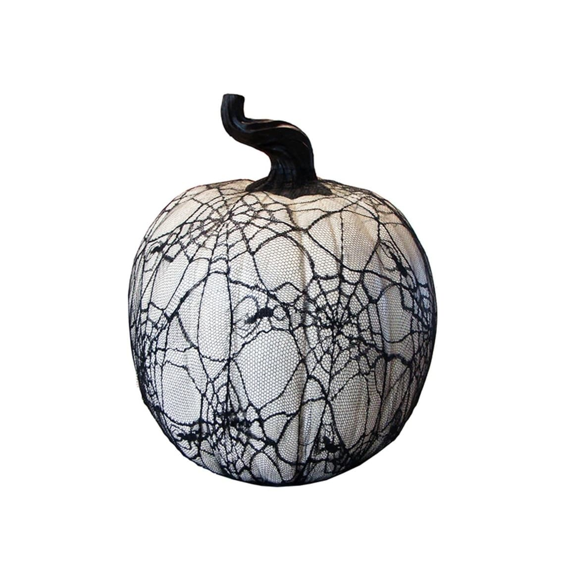 "Allstate 15"" Spooky Black Spider Web Lace Covered Halloween Pumpkin Table Top Decoration"