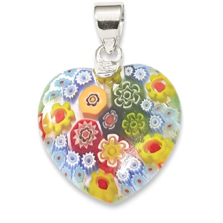 Sterling 925 Charm Pendant - IceCarats 925 Sterling Silver Multicolored Glass Heart Pendant Charm Necklace  Love Fine Jewelry Gift Set For Women Heart