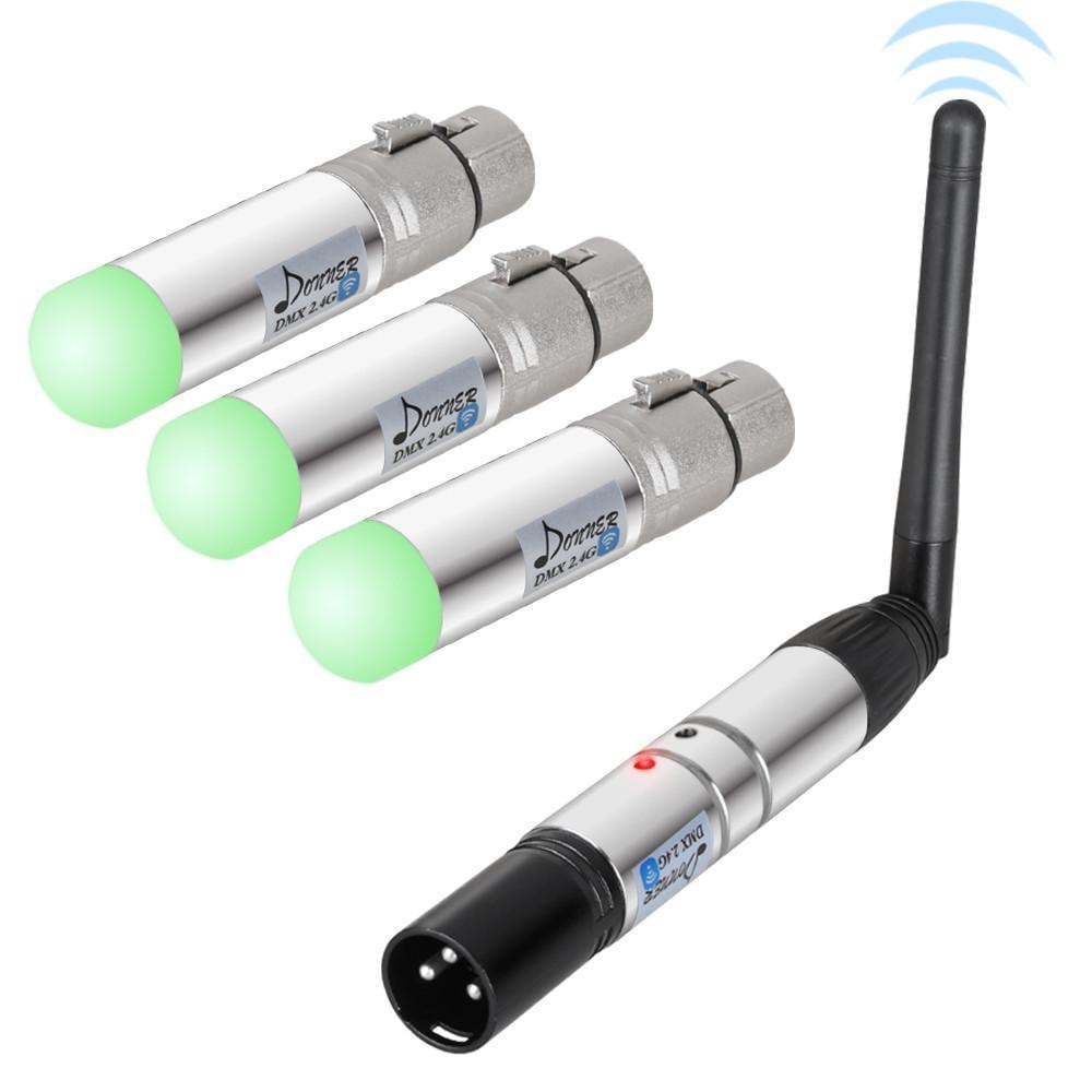 Donner 4pcs DMX512 DMX Dfi DJ 2.4G Wireless 3 Receiver with Tricolor LED Indicators & 1 Transmitter LED Lighting Control