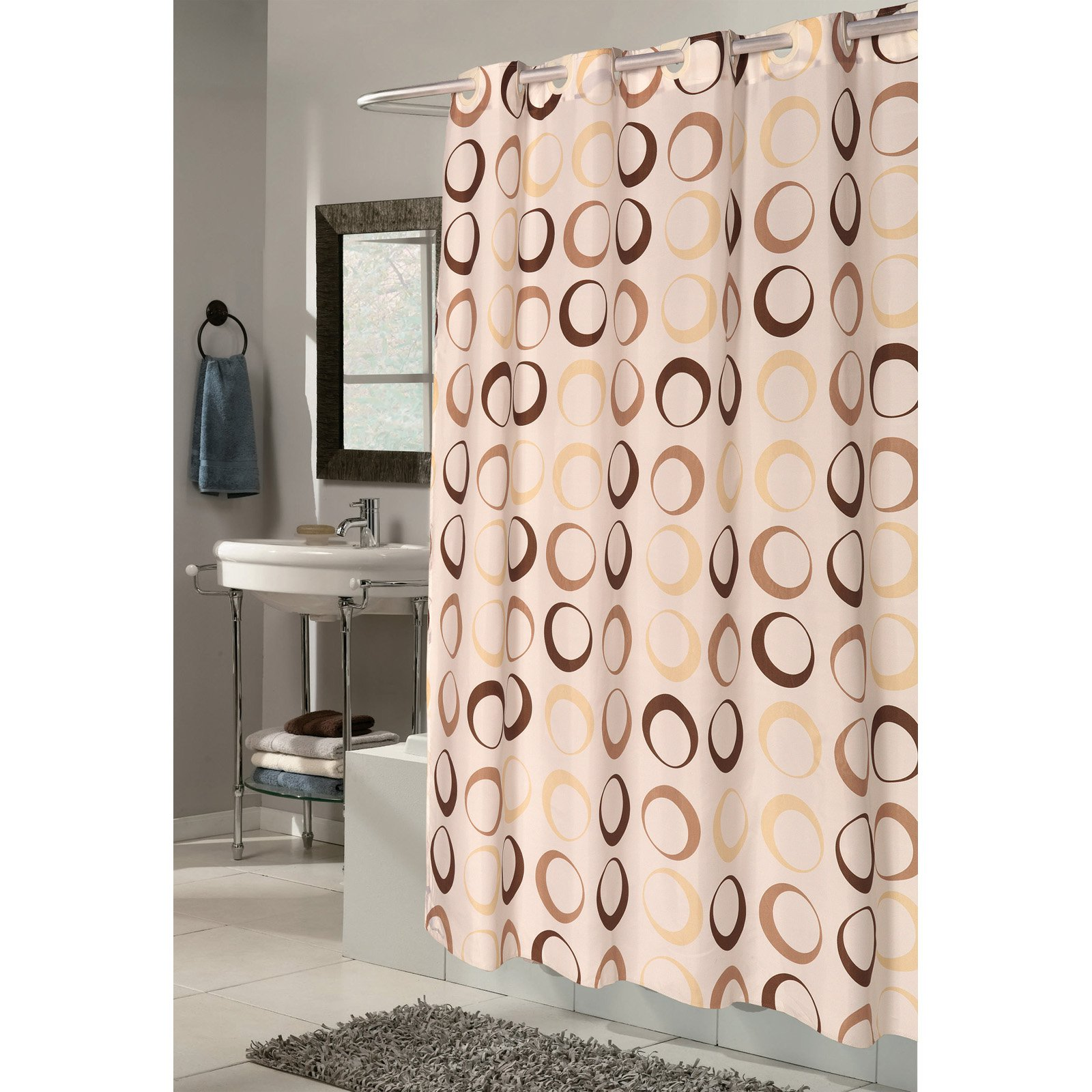 Carnation Home Fashions Ez On Grommet Circles Beige Fabric Shower Curtain