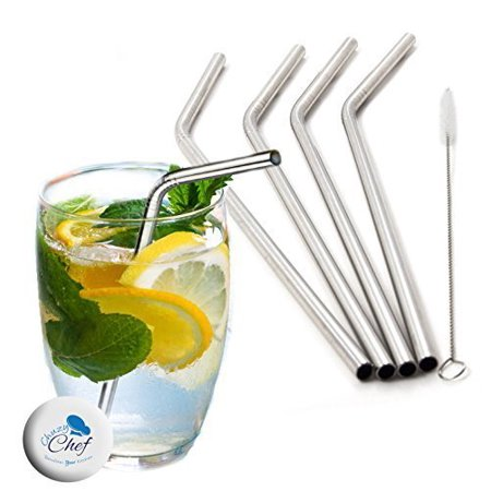 Reusable Stainless Steel Drinking Straws - Set of 4 Eco Friendly Straw Free Clining Brush Included- Metal Stinless Steel Drink Straw by Chuzy Chef - image 2 de 6