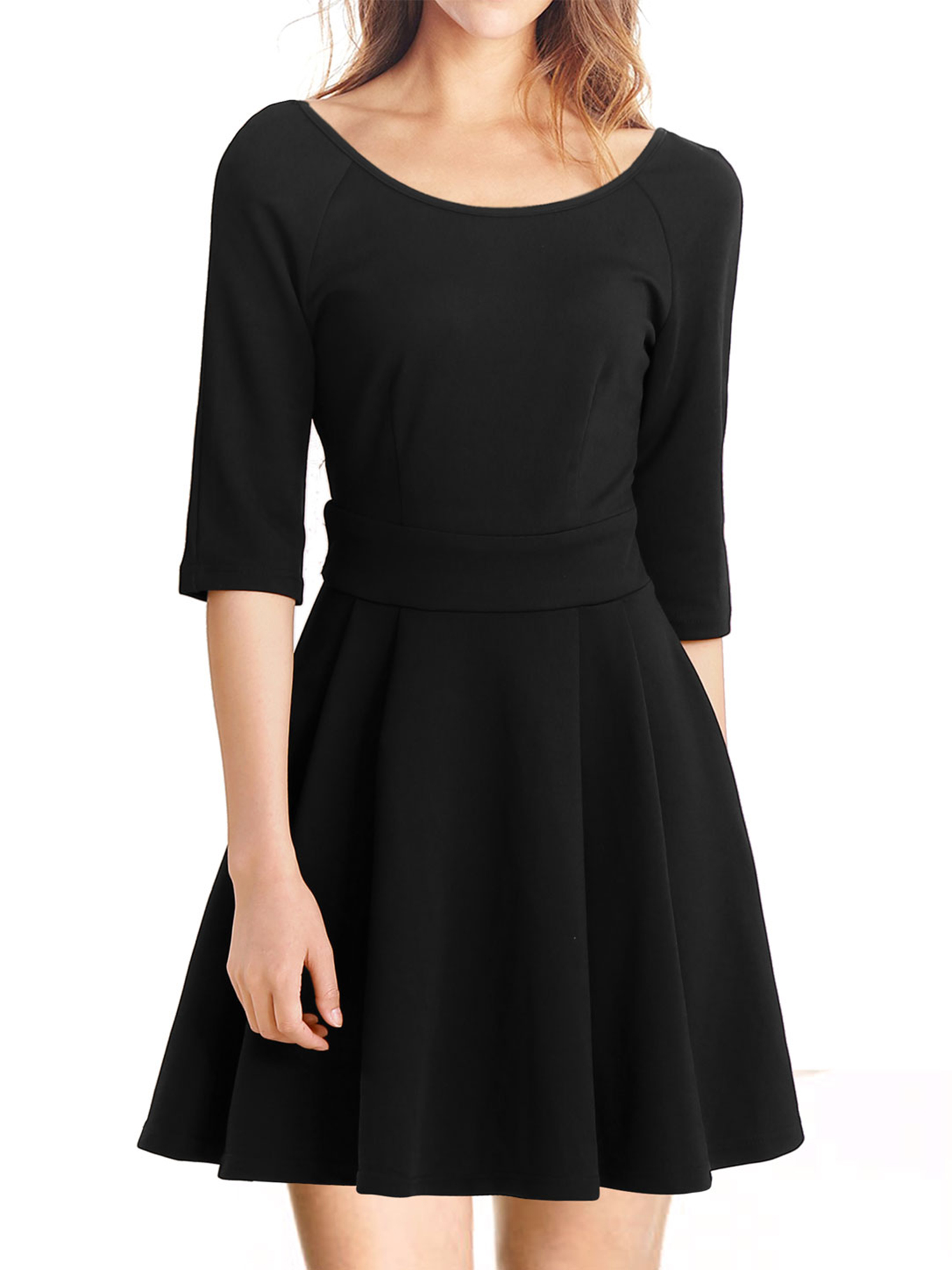 3ab81471a4 Women Vintage Pleated Fit and Flare Skater Dress - Walmart.com