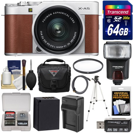 Fujifilm X-A5 Wi-Fi Digital Camera & 15-45mm XC Lens (Brown) with 64GB Card + Battery & Charger + Case + Tripod + Flash + Filter + Kit Brown Silver Flash Lens