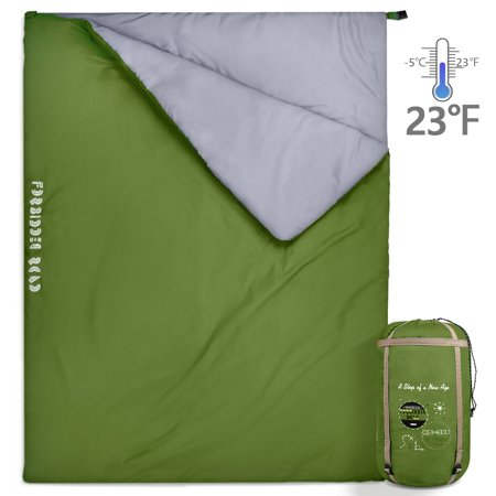 Forbidden Road Double Sleeping Bag Winter 0 ℃/ 30 ℉ 2 Person Water Resistent Lightweight Envelope Sleeping Bags 380T Nylon (Olive