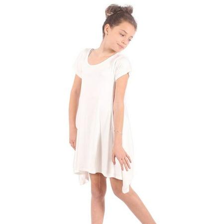 Lori&Jane Girls White Solid Color Short Sleeved Trendy Tunic Top (White Girls Shirt)