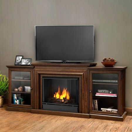 Real Flame Frederick Entertainment Center Ventless Gel Fireplace - Chestnut Oak