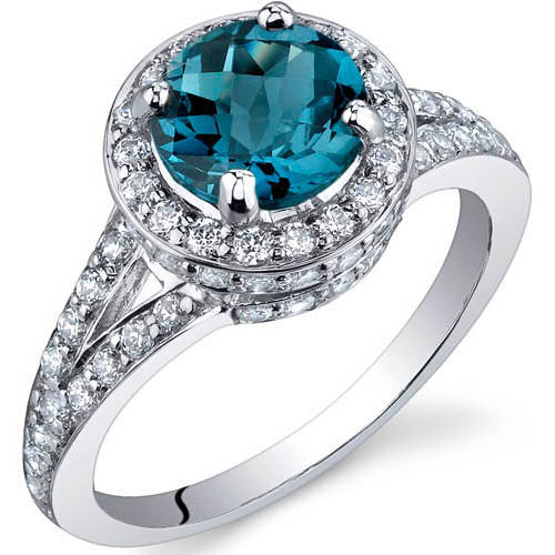 Oravo 1.50 Carat T.G.W. London Blue Topaz Rhodium over Sterling Silver Ring