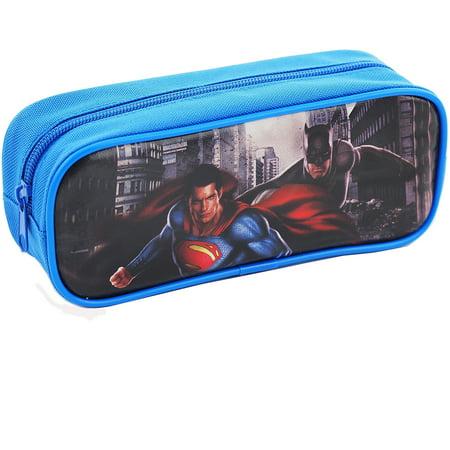 Batman Versus Superman Dawn Justice  Single Zipper Blue Pencil Case (Batman School Supplies)