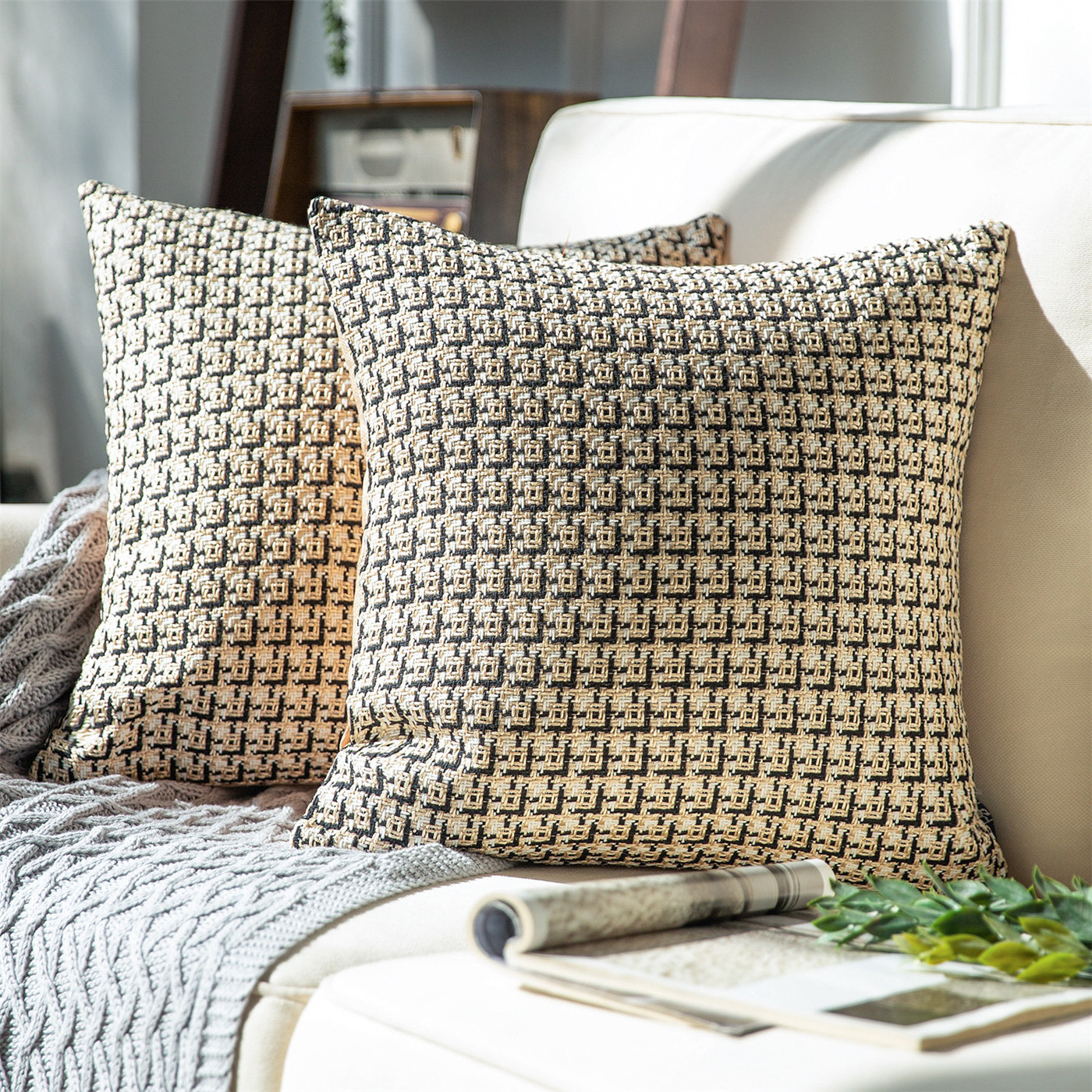 Phantoscope Classic Woven Textured Geometric Houndstooth Pattern Series Decorative Throw Pillow 18 X 18 Light Coffee 2 Pack Walmart Com Walmart Com