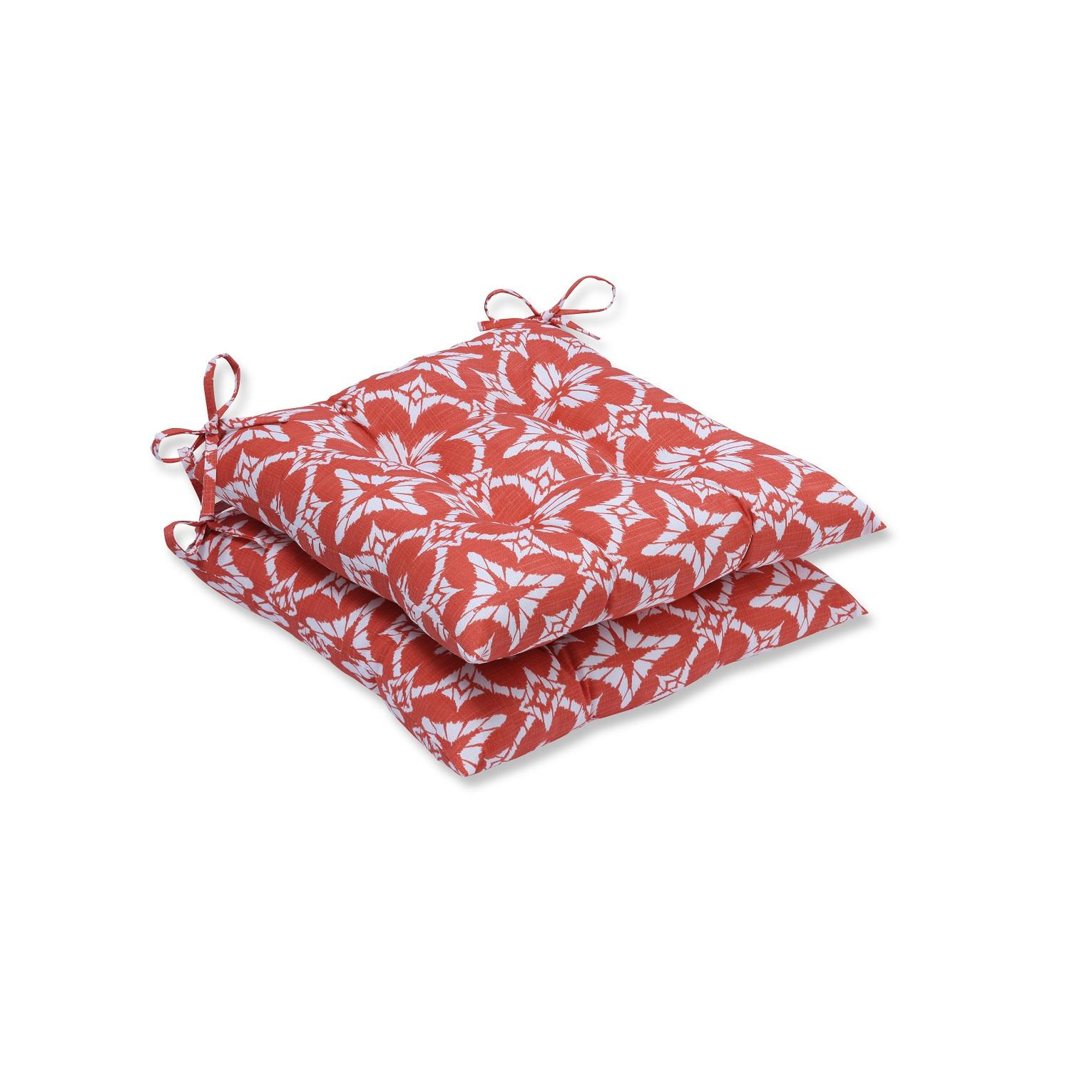 CC Home Set of Two Persimmon Orange and Cotton White Ikat...