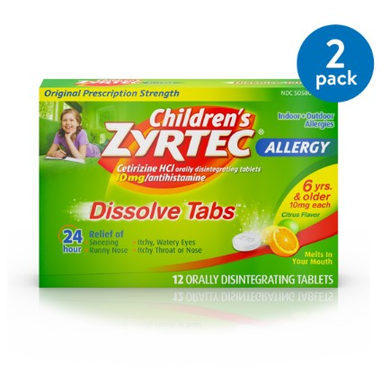 (2 Pack) Children's Zyrtec 24 Hr Allergy Dissolve Tablets, Citrus Flavor, 12 ct