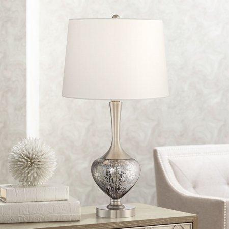 360 lighting modern table lamp mottled brushed nickel - Modern lamp shades for living room ...