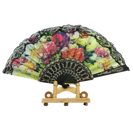 Spanish Floral Folding Hand Fan Flowers Pattern Lace Handheld Fans Size 9