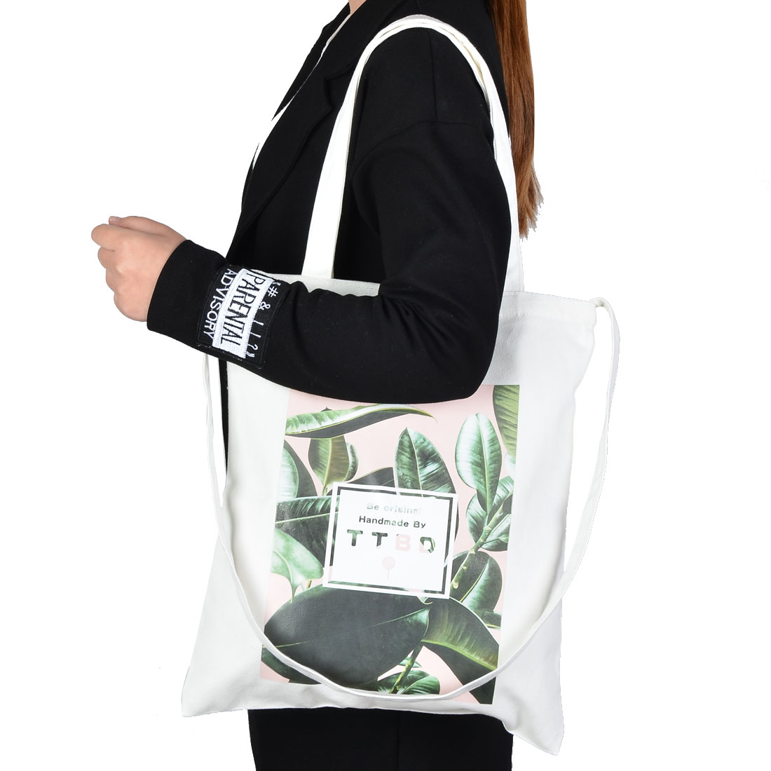 Travel Canvas Leaf Pattern Sundries Cosmetic Toothpaste Holder Tote Bag White - image 3 of 4