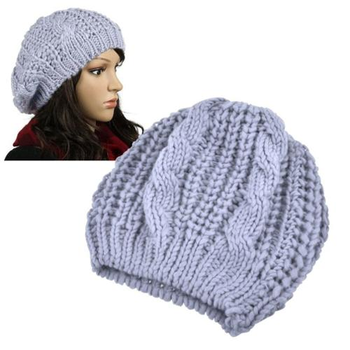 Zodaca Light Gray Womens Winter Warm Hat Beanie Crochet Ski Ball Cap Hat
