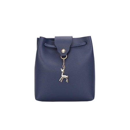 a0649b50cd5c Meigar Women Leather Bucket Mini Shoulder Bag Lady Crossbody Deer Pendant Handbag  Purse - Walmart.com