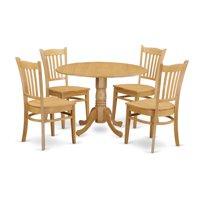 East West Furniture 5 Piece Comb Back Drop Leaf Dinette Dining Table Set