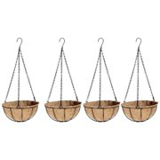 "Wire Plant Round Baskets with Coco liners, 12"" Diameter, 4 Pack"